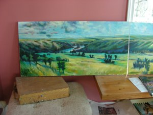 painting of the Peace River valley by Mike Kroescher